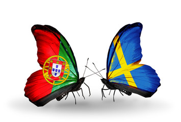 Two butterflies with flags Portugal and Sweden
