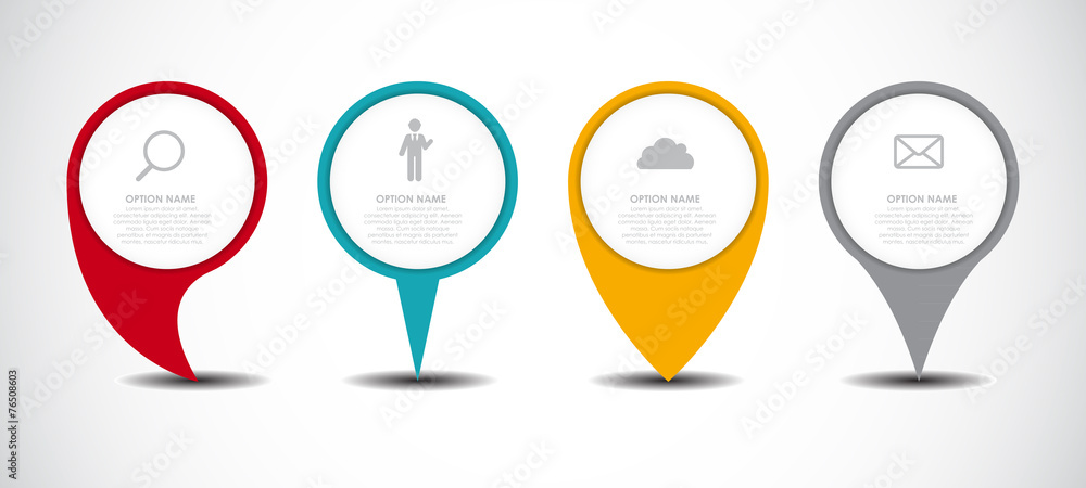 Set of Circle Pointers Infographic Business Element. Vector Illu