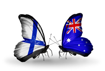 Two butterflies with flags Finland and Australia