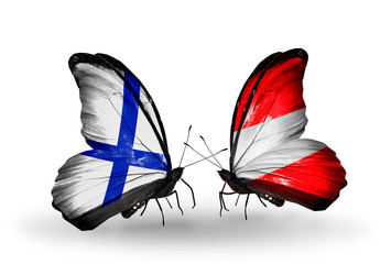 Two butterflies with flags Finland and Austria