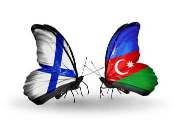 Two butterflies with flags Finland and Azerbaijan