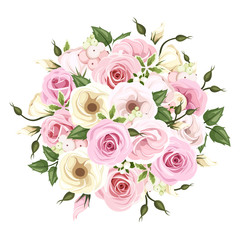 Bouquet of pink and white roses and lisianthus flowers. Vector.