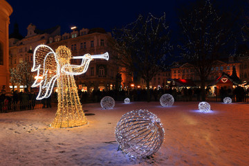 Christmas Mood on the night Old Town Square, Prague