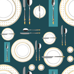 Seamless pattern with served table 1