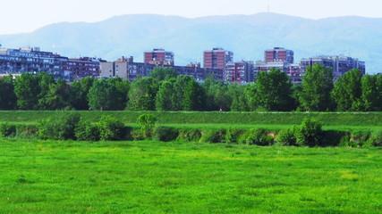 Recreation area in Zagreb,capital of Croatia, on river Sava