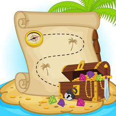 treasure map and treasure chest on island - eps