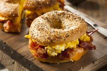 """Постер, картина, фотообои """"Hearty Breakfast Sandwich on a Bagel"""""""