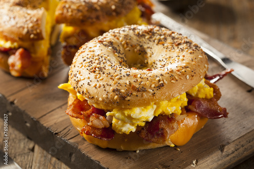 Plexiglas Egg Hearty Breakfast Sandwich on a Bagel