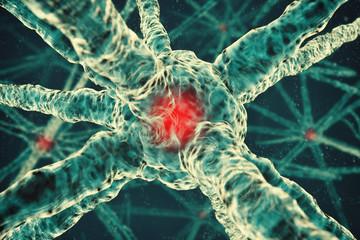 3d cancer molecule, neuron or cell background illustration