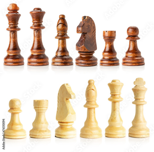 black and white wooden chess isolated on the white background - 76510094