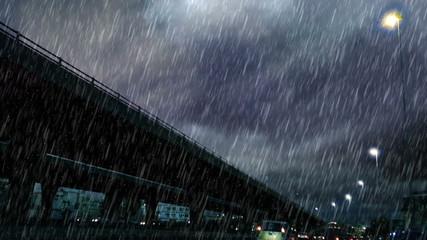 heavy rain over bridge in the early morning