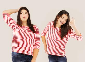 Fat girl standing near thin girl..Concept-weight loss