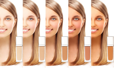 Various foundation cream. Model's face divided in parts - tanned