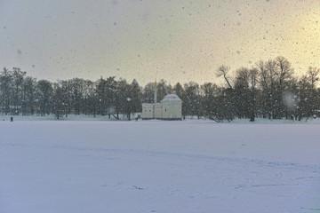 Winter  landscape with Turkish Bath  pavilion and lake