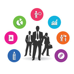 Business people and business world with economy symbols 9