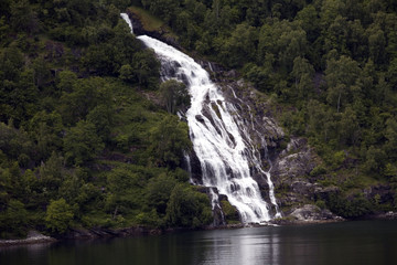 Waterfall close up in Norway fjord