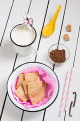 Colorful Sweet Set - Cinnamon Cookies, Milk and Cocoa