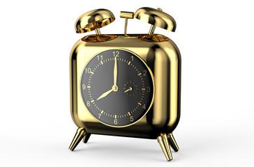 square golden alarm clock