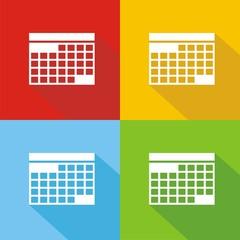 Iconos calendario colores sombra