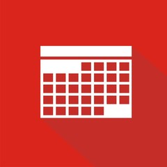Icono calendario rojo sombra