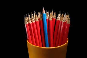 merry pencil among sad