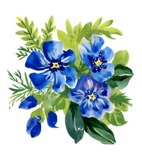 Beautiful watercolor blue flowers illustration on white backgrou