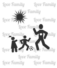 dad playing football with his children illustration over white c