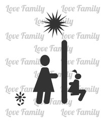 Mother and daughter on the swing illustration over white color a