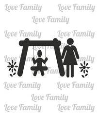 Mother and son on swing over white color and text pattern backgr