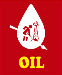 falling prices of oil and fuel, worker and tower on color backgr