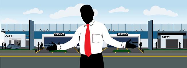 Sales man outside car dealership