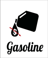 falling prices of oil and fuel, gallon and price on color backgr