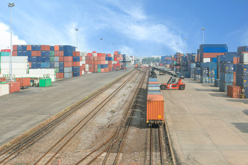 Freight trains on cargo terminal