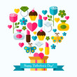 Happy Valentine`s Day greeting card. Set of flat design concept