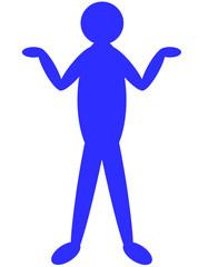 両手を上げた人のイラスト 青