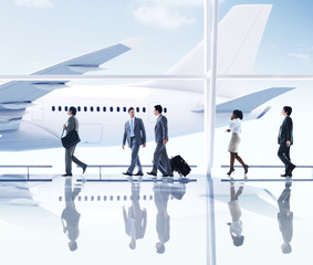 Business People Walking Airport Transportation Concept