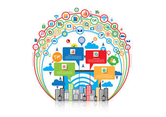 Technology communication background design