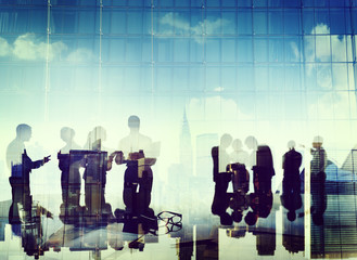 Business People Silhouette Working Cooperation Concept