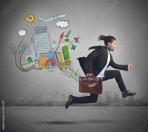 canvas print picture Businessman always traveling