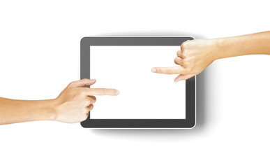 Hands clicking a generic 3d rendered tablet with copyspace