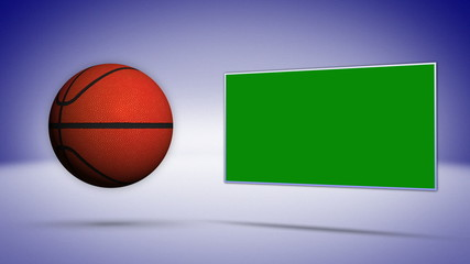 Basket Ball with Green Screen Monitor, Background