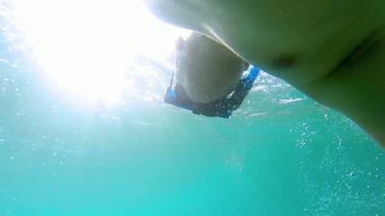 Man Diving underwater