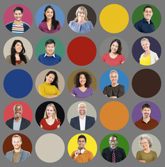 Diversity People Human Face Multiethnic Group Concept