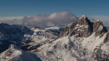 Sasso Platto peak and Campitello ski resort winter time lapse