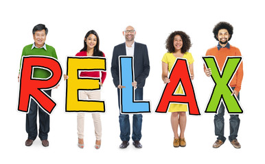 DIverse People Holding Text Relax Concept