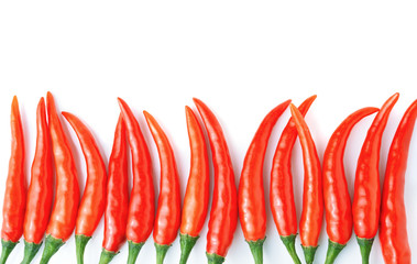 Red hot chilli peppers on white background.