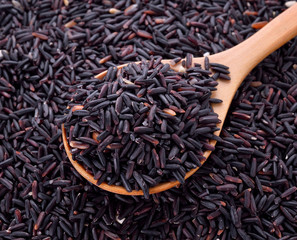 black rice in wooden spoon
