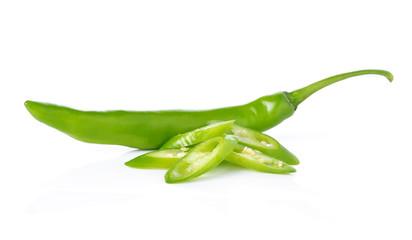Green hot chili pepper on white background