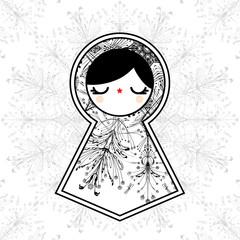 Vector illustration with babushka matryoshka doll