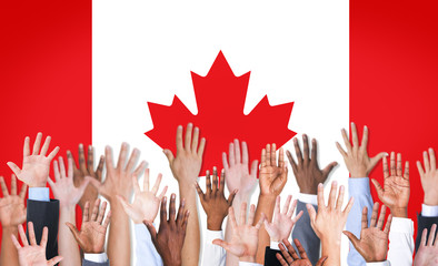 Reach Hands Raised Canada Flag Diverse Ethnic Concept